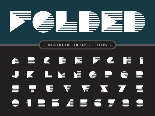 Papier gefaltet Alphabet Buchstaben und Zahlen vektor