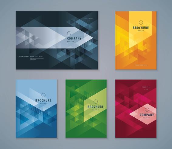 Färgrik abstrakt omslagsbokdesignuppsättning vektor