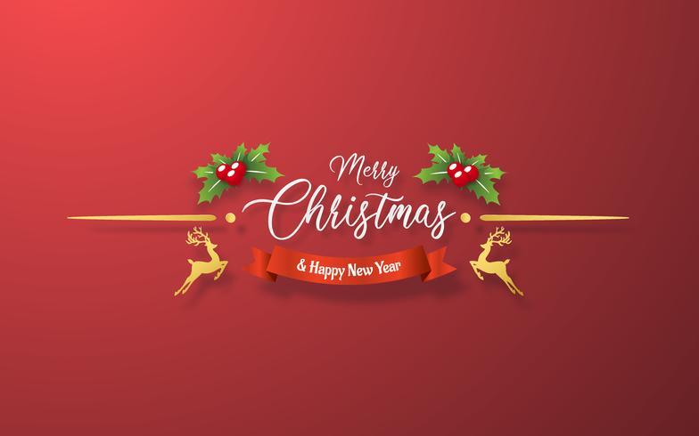 Juldekoration på röd bakgrund vektor