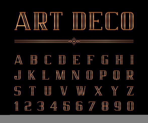 Art Deco typsnitt och alfabet vektor
