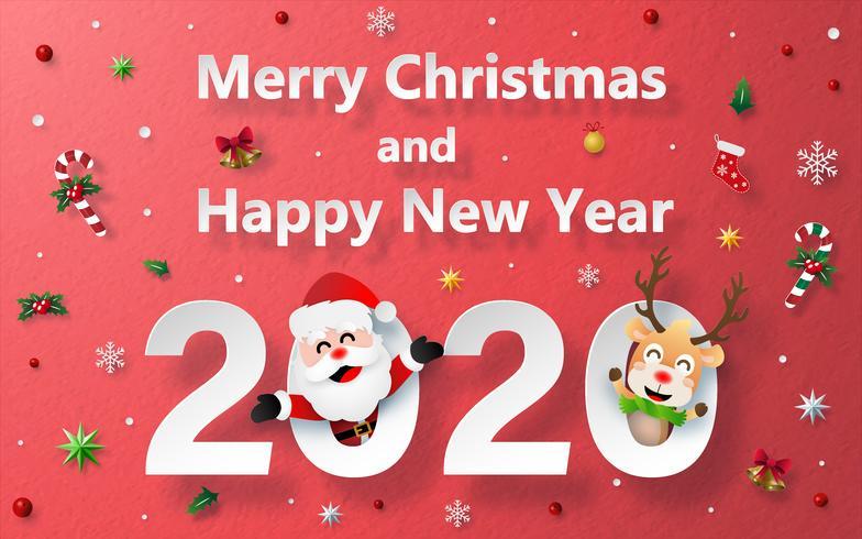 Jul och gott nytt årfirande med jultomten och ren på röd bakgrundspappersstruktur vektor