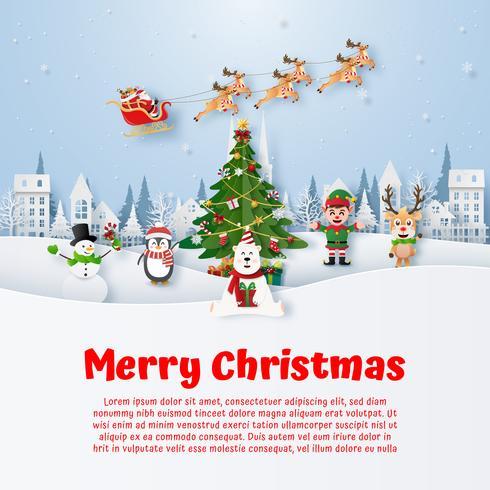 Julvykortkopieringsutrymme med tecknad filmtecken för jul vektor