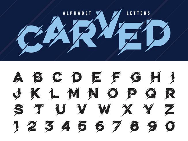Glitch Modern Alphabet Buchstaben und Zahlen vektor
