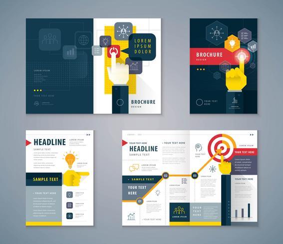 Schwarzes und gelbes Einband-Buch-Design vektor