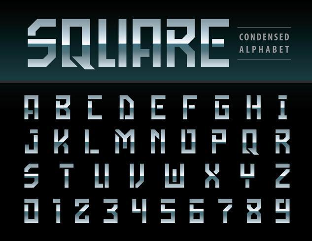Moderna fyrkantiga alfabetbokstäver och siffror vektor