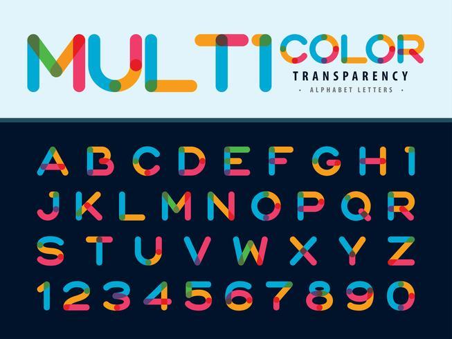 Alfabetet bokstäver och siffror i flera färger vektor