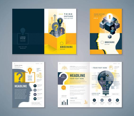 Cover Book Design Set, svart och gult mänskligt huvud med glödlampa mallbroschyrer vektor