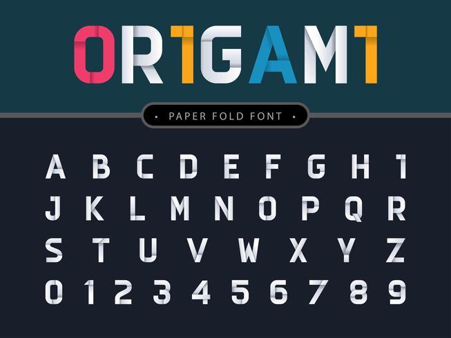 Origami alfabetet bokstäver och siffror vektor