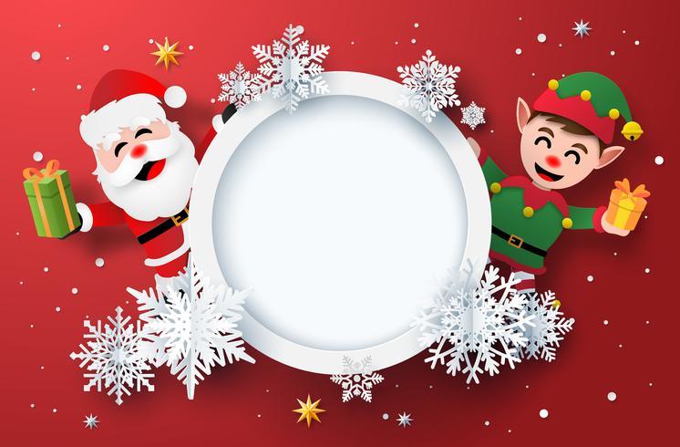 Papierkunst der Winterurlaubkarte mit Santa Claus und Elf vektor