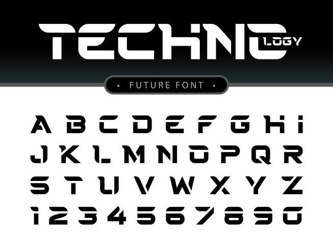 Techno Alfabetet bokstäver och siffror vektor