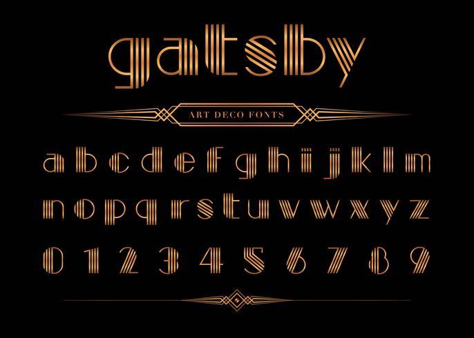 Gatsby teckensnitt och nummer, guldbokstavsuppsättning. vektor