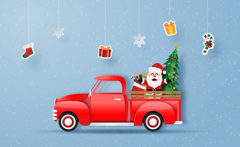 Jultomten i röd lastbil vektor