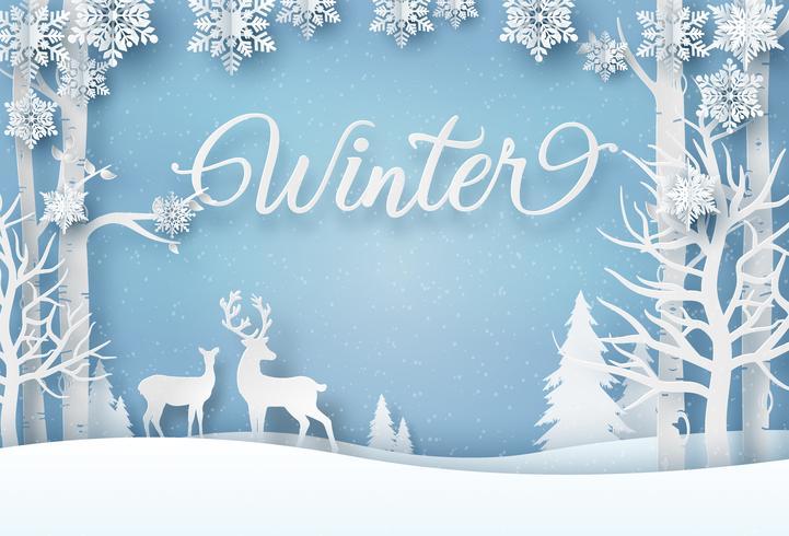 Vinterkort i pappersstil vektor