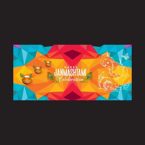 Lycklig geometrisk affisch för Janmashtami-firandet vektor