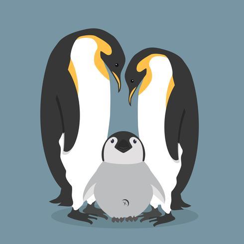 Lycklig pingvinsfamilj för tecknad film vektor