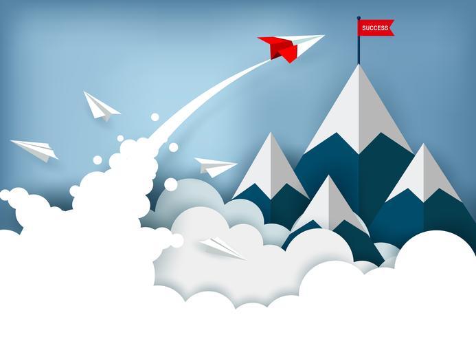 Papierflugzeug, das in Richtung zur Spitze des Berges fliegt vektor