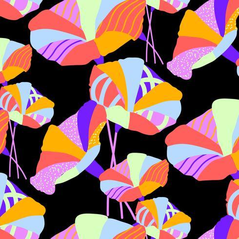 Handritad fet ljus texturerad geometrisk blommönster vektor