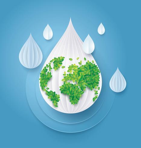 Rette das Wasser und die Welt vektor