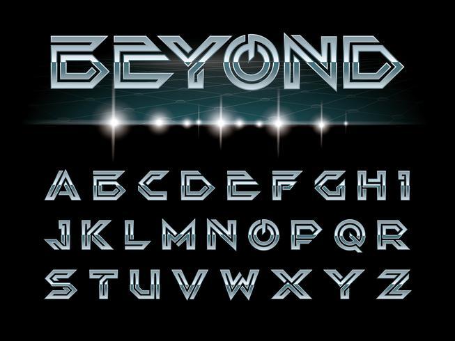 Futuristiska teckensnitt och alfabet vektor