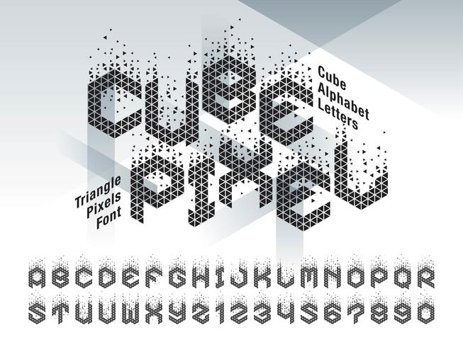Cube Pixel Alfabetet bokstäver och siffror vektor