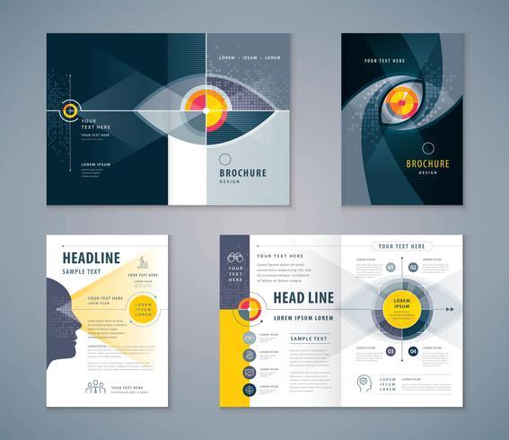 öga täcka bok designuppsättning vektor