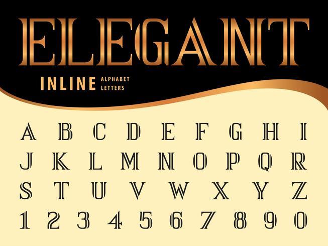 Eleganta alfabetbokstäver och siffror vektor