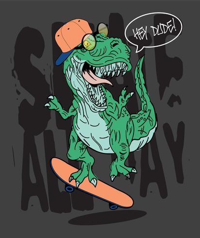 Dinosaurieillustration för t-shirttryck vektor