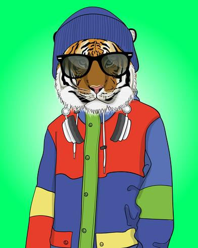 Handritad cool tiger med beanie- och hörlurarillustration vektor
