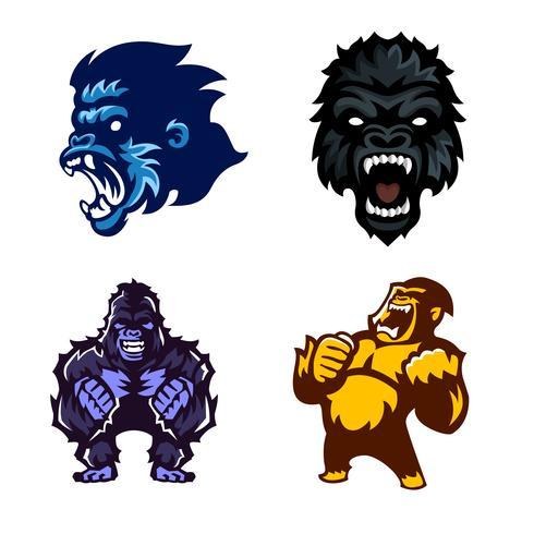 Gorilla, Affe, Affe, Set von Logo-Maskottchen vektor