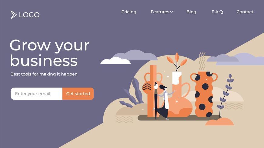 Design för mall för konst för hantverkskonst online-målsida vektor