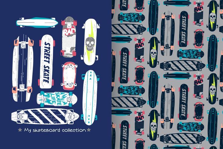 skateboard med mönsteruppsättning vektor