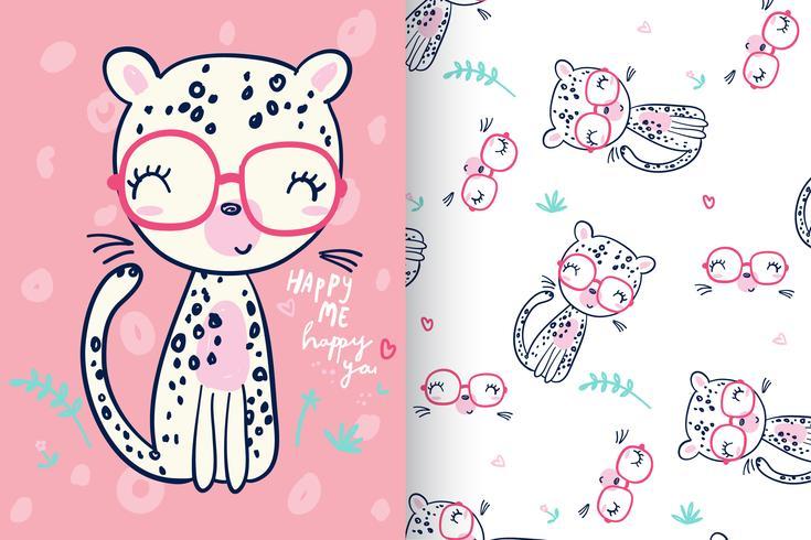 Glad gepard med mönsteruppsättning vektor