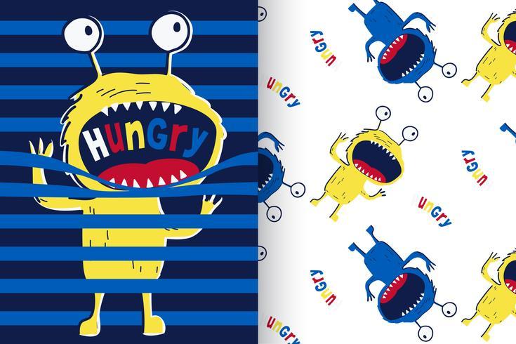 hungrig monster med mönsteruppsättning vektor
