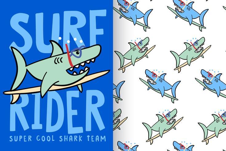 Surf Rider haj med mönsteruppsättning vektor
