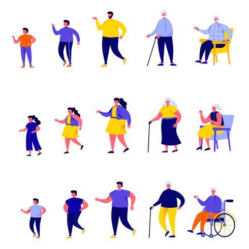 Uppsättning av platta människor olika generationer karaktärer vektor