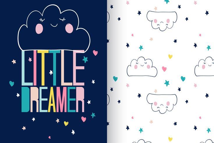 Little Dreamer-Mustersatz vektor