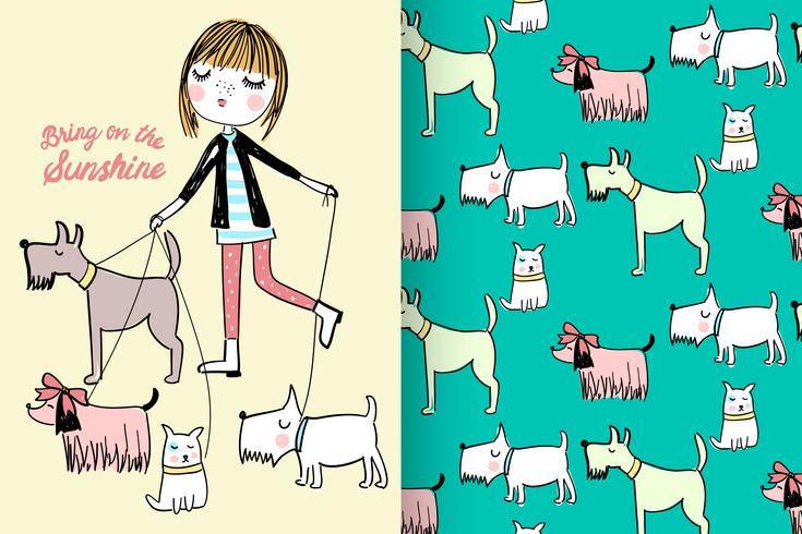 Walking Dogs med mönsteruppsättning vektor