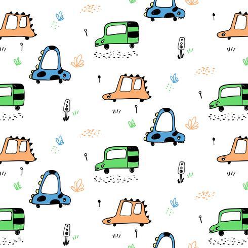 Hand gezeichnete Tierautos mit Gesichtsmuster vektor