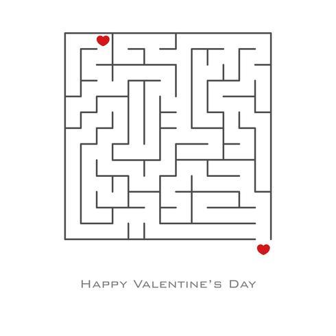 Valentinstaghintergrund mit Herzen formte in Labyrinth vektor