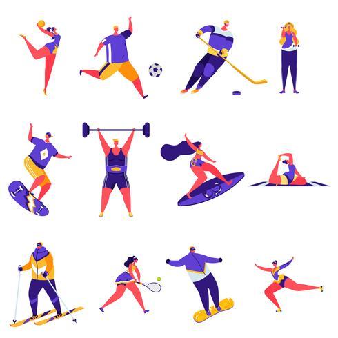 Uppsättning av platta människor sportaktiviteter karaktärer vektor
