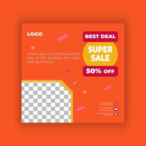 Stor försäljning sociala medier post designmall vektor
