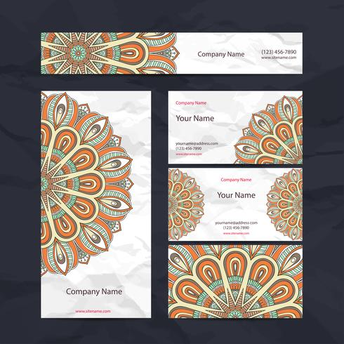Orange Mandala Briefpapier Set vektor