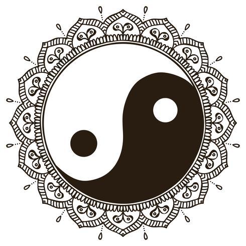 Mandala. Runda Yin Yang-prydnad vektor