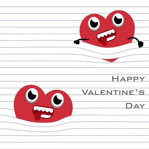 Rotes Herz hängen mit der Linie der Papierseite vektor