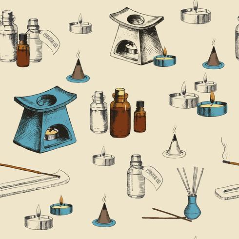 Aromaterapi sömlösa mönster med handritade objekt vektor