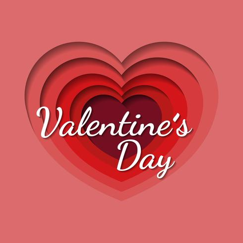 Alla hjärtans dag bakgrund med hjärta formad i papper konst stil vektor