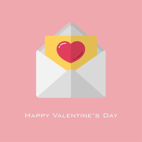 Rotes Herz des Valentinstags auf gelbem Papier im weißen Umschlag vektor