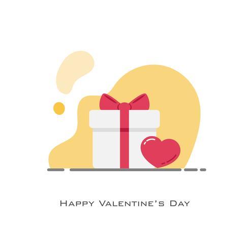 weiße Geschenkbox beiseite durch rotes Herz vektor