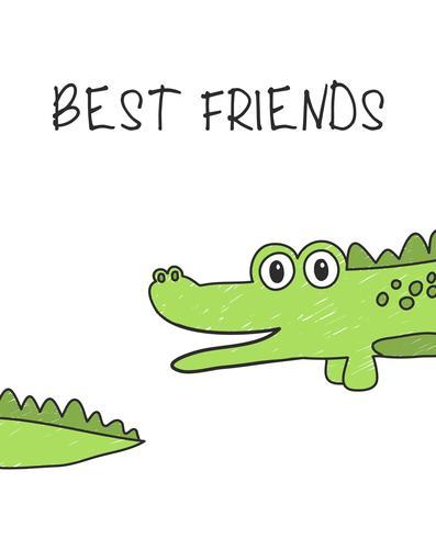 Bästa vänner krokodil vektor