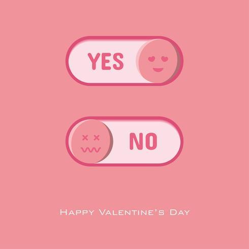 Ja und Nein-Taste zum Valentinstag wählen vektor